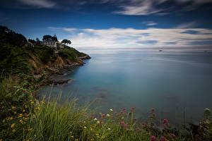 Фотографии Франция Побережье Море Скале Bretagne Природа