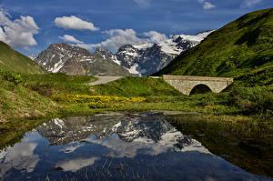 Картинки Франция Горы Мосты Озеро Альп Col De L'iseran Природа