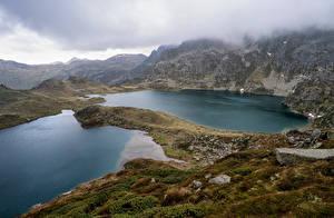 Фотографии Франция Гора Озеро Облачно Ariege