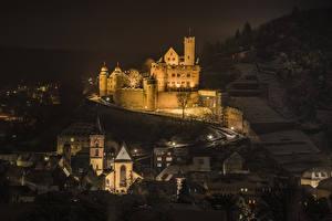 Фотография Германия Замки Дома Ночью Wertheim Castle