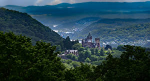 Фотографии Германия Замок Гора Деревьев Альп Drachenburg Castle Природа