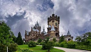 Фото Германия Замки Башня Облака Schloss Drachenburg город