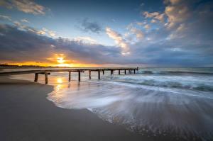 Фотография Германия Берег Пристань Рассветы и закаты Облако Heiligenhafen Природа