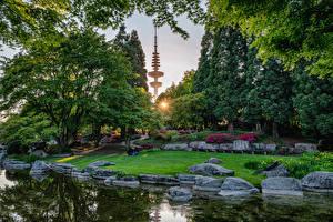 Фото Германия Гамбург Сады Пруд Камень Газон Деревьев Кусты Planten un Blomen Природа