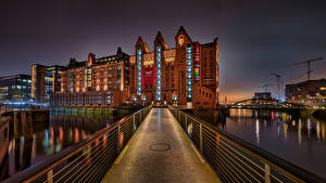 Фото Германия Гамбург Здания Мост Реки Maritimes Museum Города