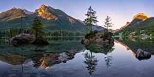 Фото Германия Гора Озеро Пейзаж Бавария Альп Дерево Berchtesgadener Land