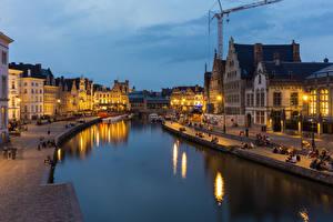 Фотография Гент Бельгия Дома Реки Вечер Уличные фонари Города