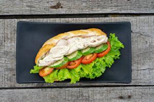 Картинка Хот-дог Булочки Овощи Доски Продукты питания