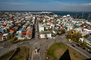 Фотографии Исландия Здания Сверху Улица Городской площади Reykjavik