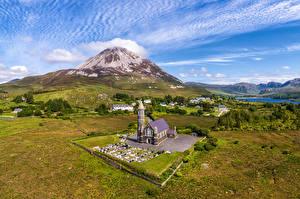 Обои Ирландия Гора Пейзаж Церковь Donegal Природа