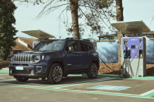 Обои Джип Серые SUV 2020 Renegade Limited 4xe авто