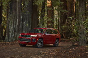 Обои Jeep CUV Темно красный Металлик 2021 Grand Cherokee L Overland