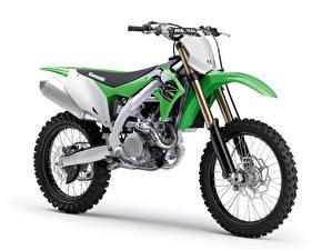 Картинки Кавасаки Сбоку Белый фон 2018-21 KX450 Мотоциклы