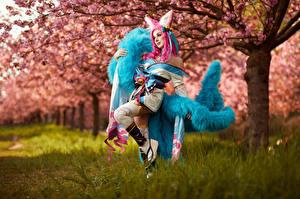 Обои Михаил Давыдов фотограф Весенние Цветущие деревья LOL Ahri Косплей Сакура Spirit Blossom девушка Фэнтези