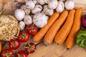 Обои Грибы Помидоры Морковь Еда картинки