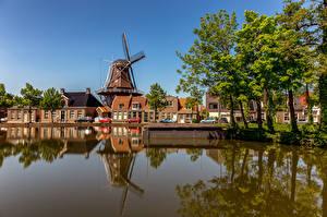 Фотографии Голландия Дома Водный канал Мельницы Дерева Meppel Города