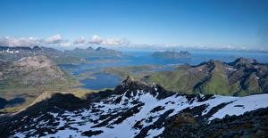 Картинки Норвегия Лофотенские острова Горы Фьорд Austnesfjorden