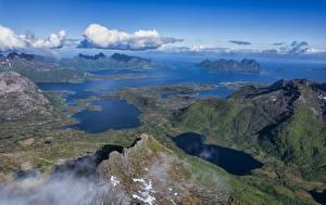 Фотография Норвегия Лофотенские острова Горы Облако Фьорд Сверху Eidet Природа