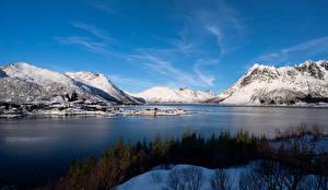 Фото Норвегия Лофотенские острова Горы Фьорд Vestpollen
