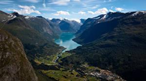 Фотографии Норвегия Горы Фьорд Долина Lodalen