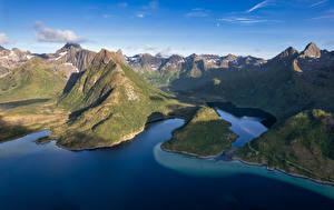 Фотографии Норвегия Гора Лофотенские острова Фьорд Grunnførfjord Природа