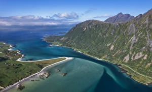 Фотографии Норвегия Гора Лофотенские острова Фьорд Сверху Morfjord Природа