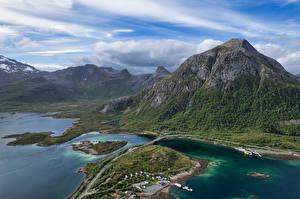 Фотография Норвегия Горы Лофотенские острова Облака Сверху Vestpollen Природа