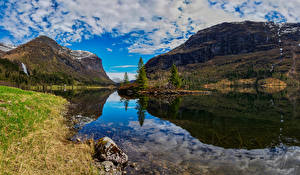 Картинка Норвегия Гора Пейзаж Облако Фьорд Hardanger
