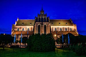 Фото Польша Храмы Церковь В ночи Лучи света Pelplin Cathedral Basilica