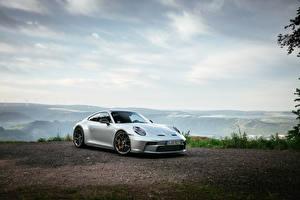 Картинки Porsche Серебристый Металлик 911 GT3 Touring PDK, (Worldwide), (992), 2021 Автомобили