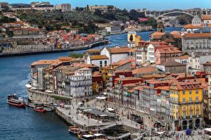 Обои для рабочего стола Портус Кале Португалия Дома Причалы Речные суда Заливы город