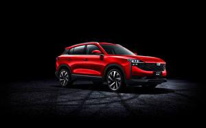 Обои Кроссовер Красная Металлик Китайские Qoros 7, 2020 автомобиль
