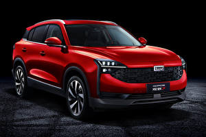 Обои Красный Металлик CUV Китайская Qoros 7, 2020 Автомобили