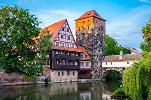Обои Река Дома Германия Башня Бавария Nuremberg Города