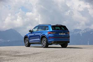 Фотографии Skoda Синий Металлик CUV Сзади Kodiaq RS, (Worldwide), 2021 авто