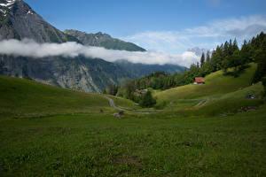 Картинки Швейцария Гора Луга Пейзаж Облако Uri Природа