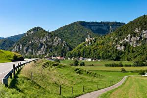Фотографии Швейцария Горы Дома Дороги Поля Oensingen, Solothurn Природа