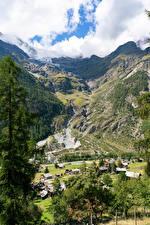 Картинка Швейцария Горы Здания Альпы Каньон Деревня Мха village Randa Природа