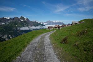 Фотография Швейцария Гора Дороги Здания Альпы Heidmanegg Природа