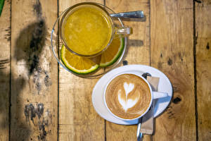 Обои для рабочего стола Чай Кофе Капучино Лайм Двое Чашке Серце Доски Продукты питания