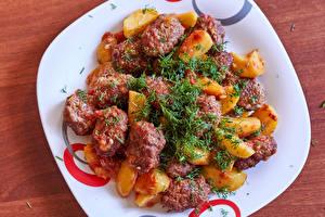 Картинки Вторые блюда Мясные продукты Картошка Укроп Тарелка Пища