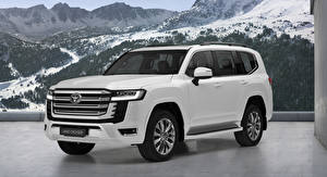 Обои Toyota Белый Металлик Land Cruiser, (EU-spec), (300), 2021 автомобиль