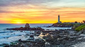 Картинка Штаты Побережье Маяк Калифорния Pigeon Point Lighthouse Природа