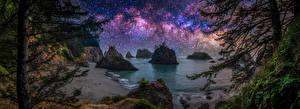 Картинки США Берег Звезды Панорамная В ночи Дерева Скалы Oregon Природа