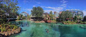 Фотографии Штаты Диснейленд Парки Пруд Здания Панорама Флорида Дизайн Уличные фонари Walt Disney World Resort Orlando