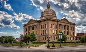 Фото Штаты Здания Часы Уличные фонари Lincoln, Illinois город