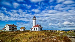 Обои США Маяки Небо Вашингтон Облачно Point Wilson Lighthouse