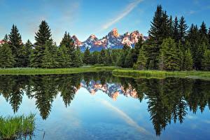 Обои США Горы Леса Озеро Grand Teton National Park, Wyoming