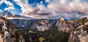 Картинка США Парк Горы Панорама Скала Йосемити Облачно Калифорнии Glacier Point Природа