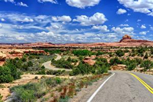 Фотографии США Парки Дороги Пейзаж Облака Canyonlands National Park, Utah Природа